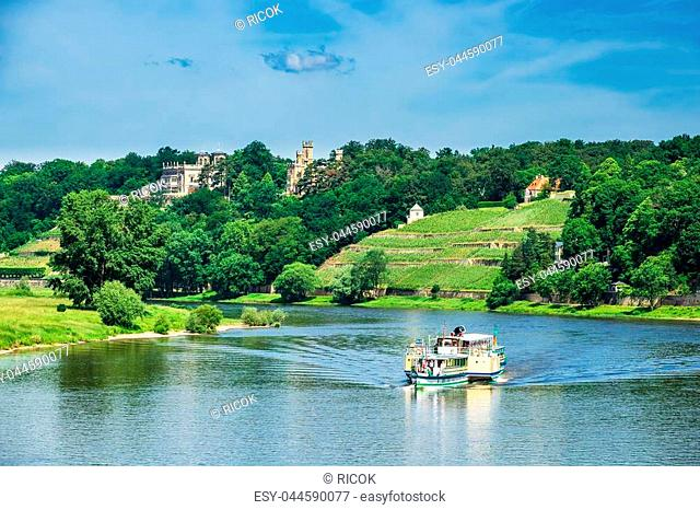 Passenger ship on the river Elbe in Dresden, Germany
