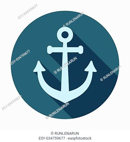 Pirate or sea icon, anchor. Flat design vector illustration. Long shadow