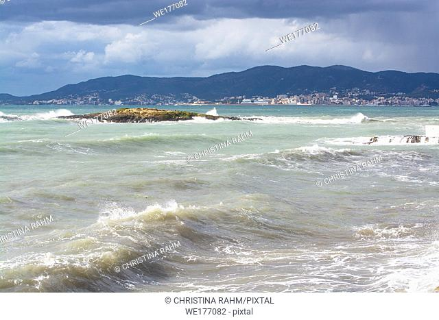 Aqua colors on stormy Mediterranean Mallorca coast on a winter day