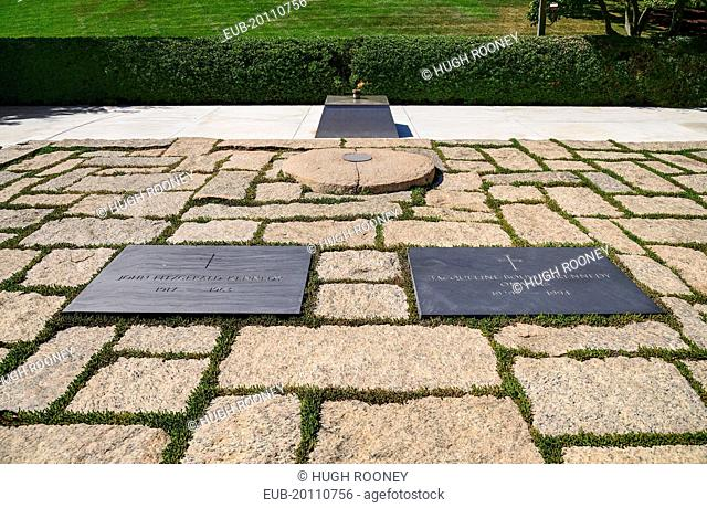 Arlington National Cemetery Grave of President JF Kennedy and his wife with eternal flame