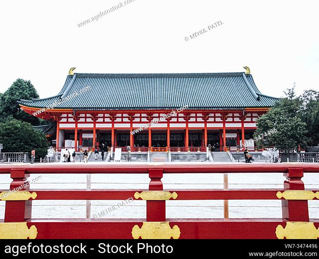 The main hall (Daigokuden) of the Heian shrine temple in Kyoto, Japan, Asia