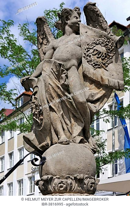 Famabrunnen with fame angel, by Elias Räntz, Bayreuth, Bavaria, Germany
