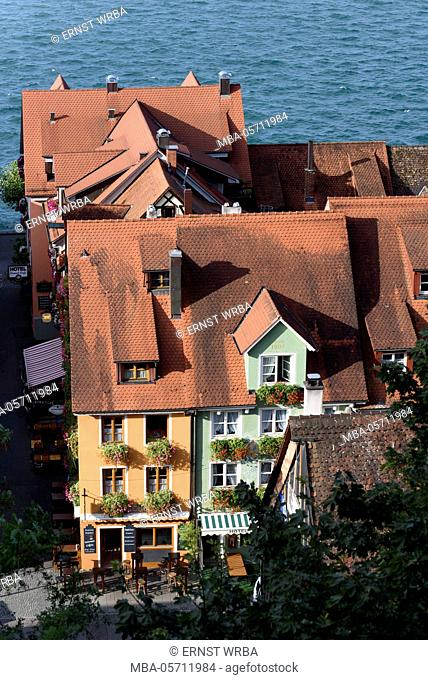 View at untertown of Meersburg and Überlinger lake, Lake of Constance, Baden-Wurttemberg, Germany