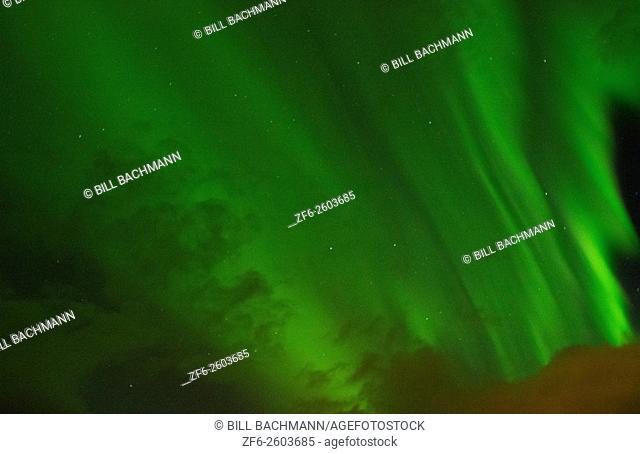 Iceland spectatular Northern Lights green in Reykholt Valley in West Iceland sky lights
