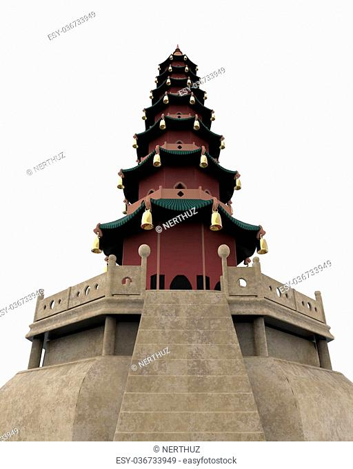 Pagoda Tower isolated on white background. 3d render