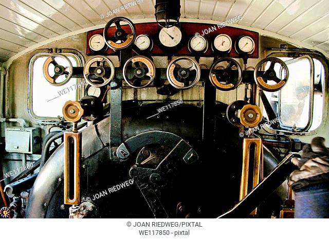 Old steam engine. Olesa de Montserrat, Barcelona province, Spain