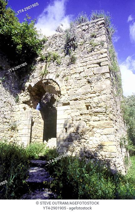 Ruins of Gardiki Castle from the 13th century, Corfu, Greece