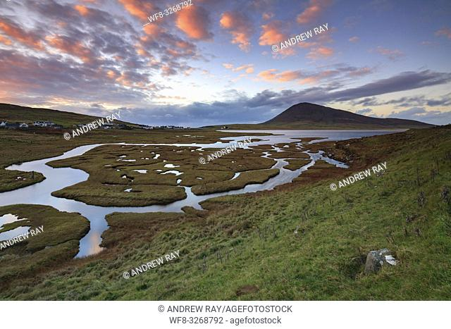 Sunset captured in early November from a vantage point above Northton Salt Marsh on the Isle of Harris in the Outer Hebrides