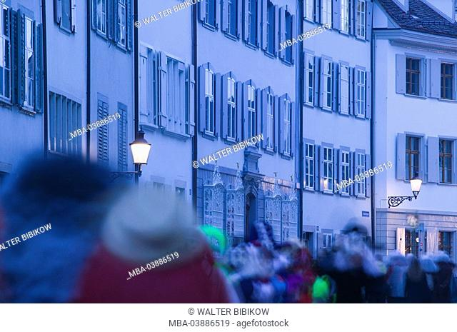 Switzerland, Basel, Old Town, Augustinian-alley, passers-by, evening, blue hour, city, city view, alley, row of houses, front of row houses, houses, residences