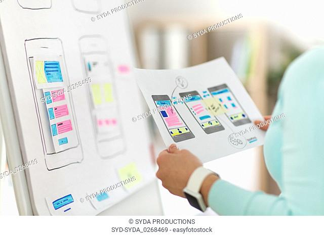 close up of ui designer with templates at office