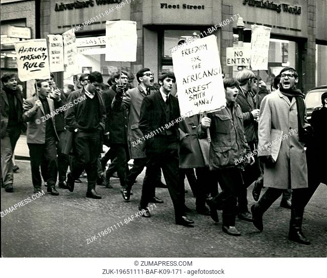 Nov. 11, 1965 - Students In Protest March: Students from the London School of Economies staged a march from Aldwych to the Stock Exchange, in protest against Mr