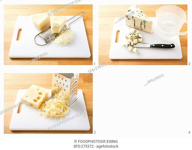 Dicing cheese and grating it finely and coarsely