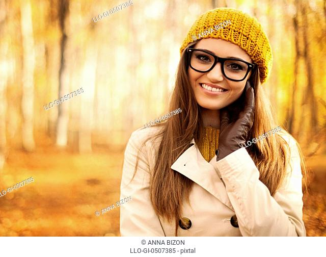 Portrait of beautiful woman at autumn, Debica, Poland