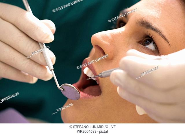 Young woman receiving dental care