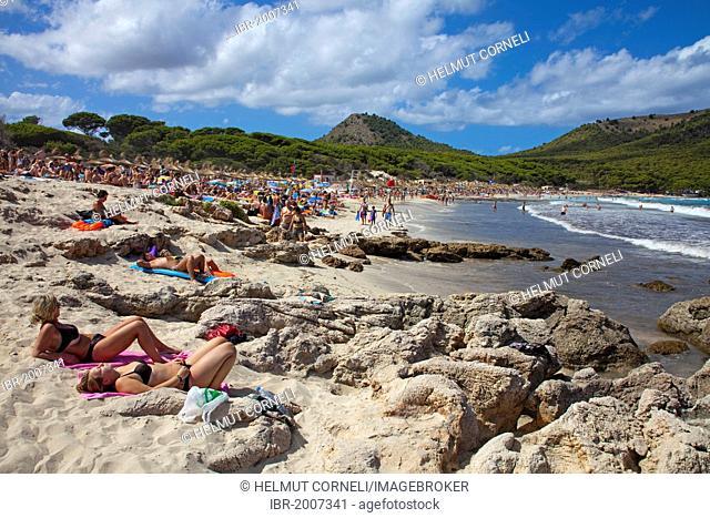 Sandy beach of Cala Agulla, Cala Guya in Castilian, near Cala Ratjada, Majorca, Balearic islands, Spain, Mediterranean Sea, Europe