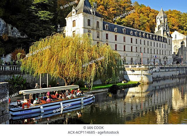 tour boat and Benedictine Abbey of Brantome, Brantome, Dordogne Department, Aquitaine, France