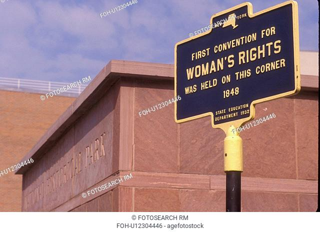 Women's rights, New York, Seneca Falls, Finger Lakes, A sign is displayed at the Women's Rights National Historical Park where the first Women's Rights...