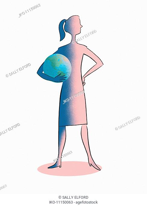 Confident woman holding the world