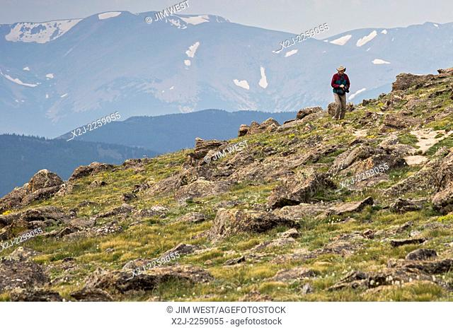 Idaho Springs, Colorado - A photographer hikes on the tundra near the summit of Mt. Evans, one of the most accessible high peaks in the American west