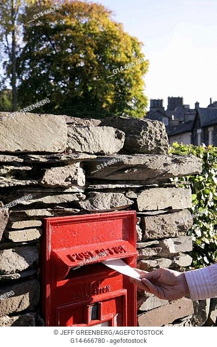 UK, England, Cumbria, Lake District, Grasmere, Keswick Road, post office box