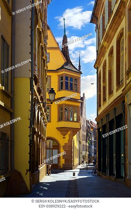 Street with historical houses in Petite France district in Strasbourg, France