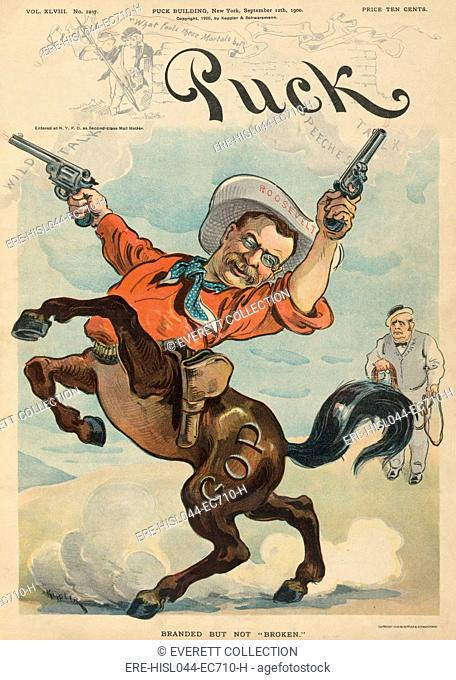 Theodore Roosevelt as a bucking bronco firing two revolvers. PUCK Magazine cartoon of Sept. 12, 1900 when Roosevelt was running for Vice President