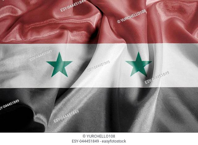Rippled Waving Flag of Syria Closeup Background