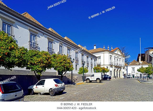 Administrative building, orange trees, city hall, Faro Portugal