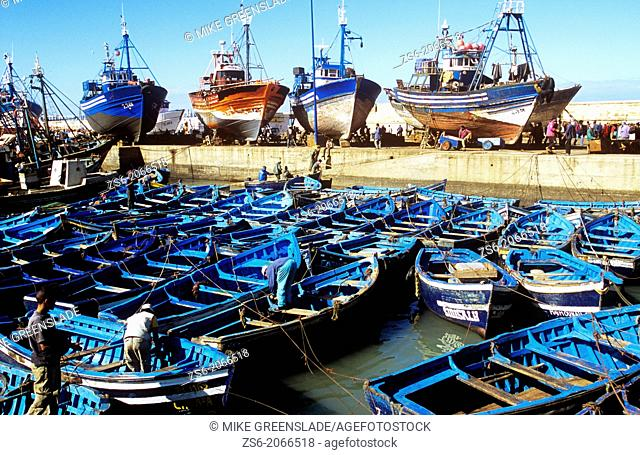 Sardine boats moored in Essaouira harbour, Morocco, North Africa