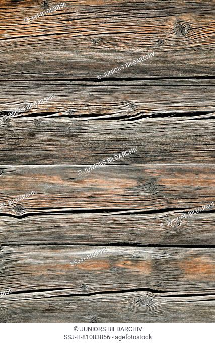 Wall made of wooden boards. Switzerland