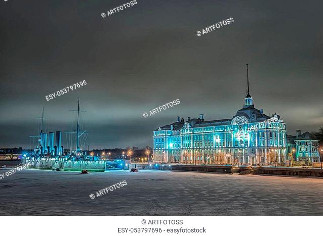 "Cruiser Aurora at night in St. Petersburg. The inscription on the ladder: 1 rank cruiser of the Baltic Fleet """"Aurora"""""""""""