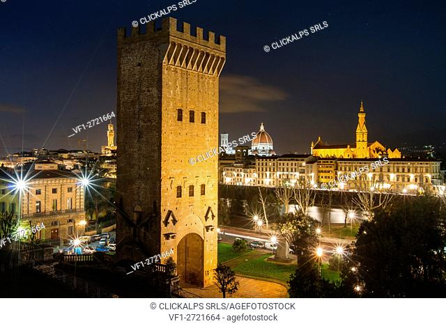 Europe, Italy, Tuscany, Florence. Historical center of Florence by night