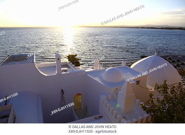 Africa, Tunisia, Mediterranean Sea, Hammamet, Medina, Waterfront Buildings