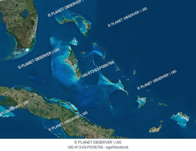 Satellite view of The Bahamas. It consists of more than 700 islands, cays and islets in the Atlantic Ocean, north of Cuba and southeast of the US state of...