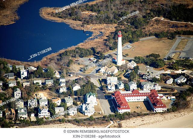 Aerial of Lighthouse in Cape May, NJ