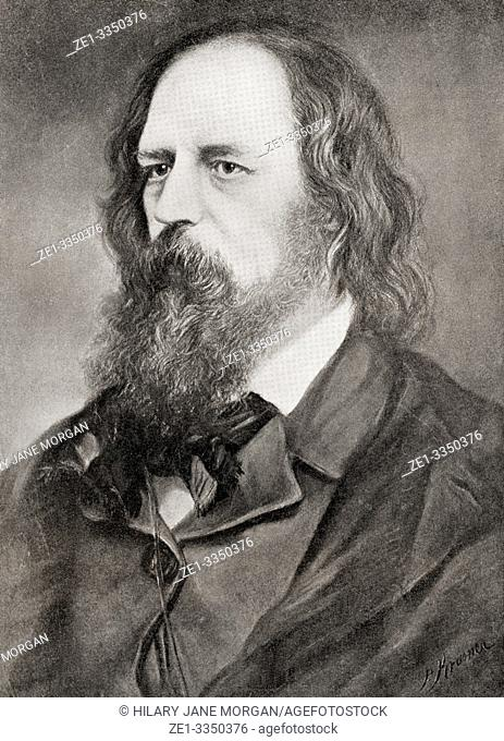 """Alfred Tennyson, 1st Baron Tennyson, 1809 â. """" 1892. Poet Laureate of Great Britain and Ireland. From International Library of Famous Literature, published c"""