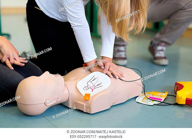 First aid cardiopulmonary resuscitation course using automated external defibrillator device, AED