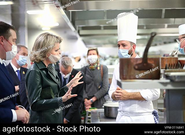 Queen Mathilde of Belgium pictured during a visit of the Queen to the Provincial Hotel School of Namur (EHPN), in Namur, Tuesday 19 October 2021