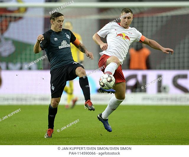 left to right: Max KRUSE (HB), Willi ORBAN (L), duels, Action, Football 1. Bundesliga, 17th matchday, RB Leipzig (L) - Werder Bremen (HB) 3: 2, on 22
