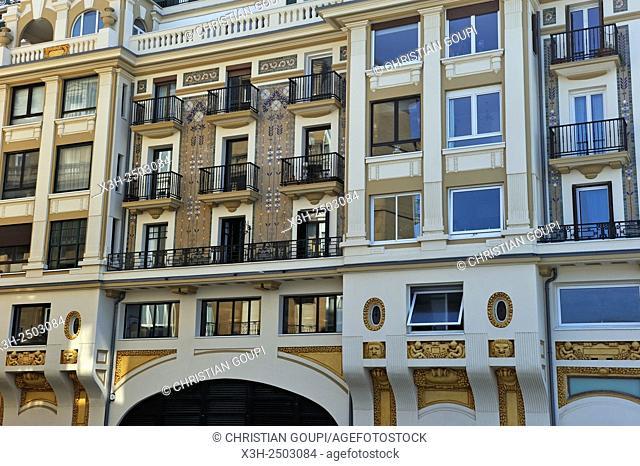 Art Deco facade at Aldamar Street, San Sebastian, Bay of Biscay, province of Gipuzkoa, Basque Country, Spain, Europe
