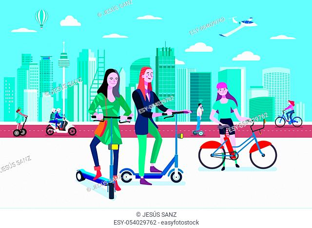 Green transport in a smart city. People riding eco transport vehicles in an smart and modern city. Easy to edit and customize. Vector illustration