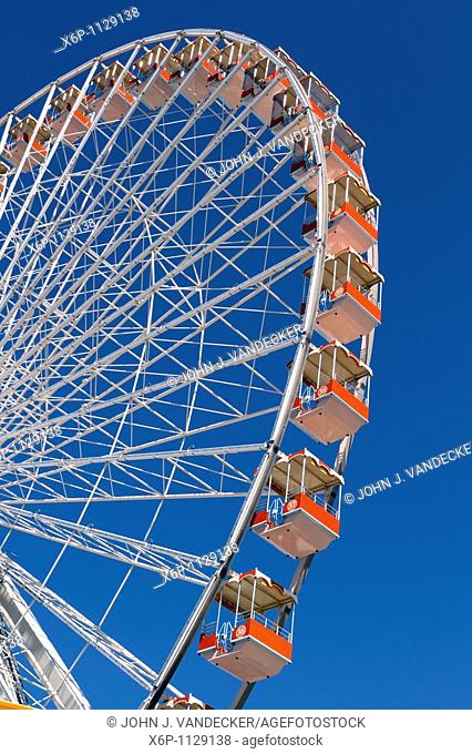 Close-up of the Ferris Wheel at Morey's Pier, Wildwood Boardwalk, Wildwood, New Jersey, USA