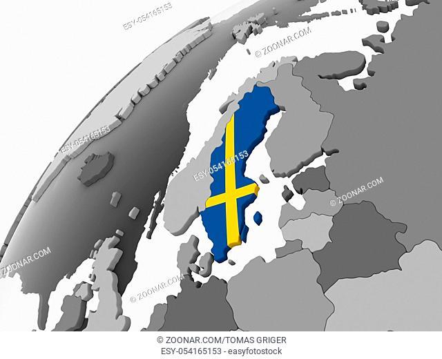 Sweden on gray political globe with embedded flag. 3D illustration