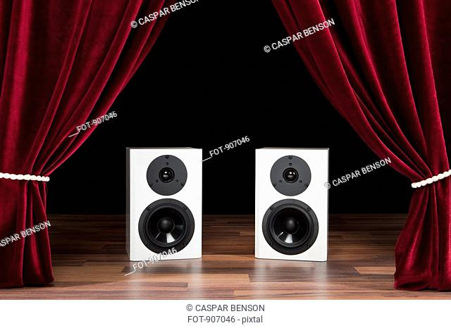 Two Audio Speakers On A Theatre Stage