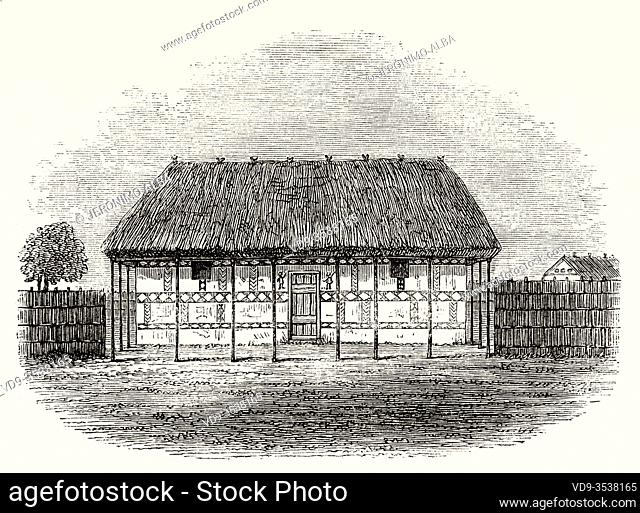 Traditional dwelling house of the tribes in Kasongo, Democratic Republic of the Congo, Central Africa. Journey across Africa