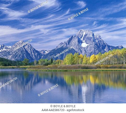 Mt. Woodring, Leigh Canyon & Mt. Moran (L to R) from Oxbow Bend, Grand Teton N.P. WY, with cirrus clouds