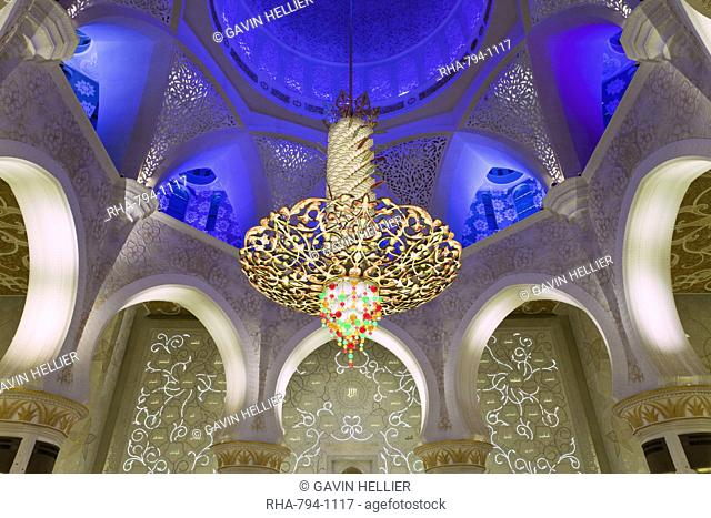 The largest ornate chandelier in the world hanging from the main dome inside the prayer hall of Sheikh Zayed Bin Sultan Al Nahyan Mosque, Abu Dhabi