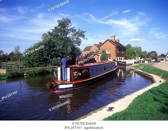 Canal boat negotiating a lock on the Trent & Mersey Canal at Shardlow