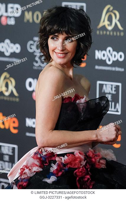Paz Vega attends the Spanish Cinema awards Goya 33rd edition at FIBE attends 33rd Goya Cinema Awards 2019 at Palacio de Congresos y Exposiciones FIBES on...