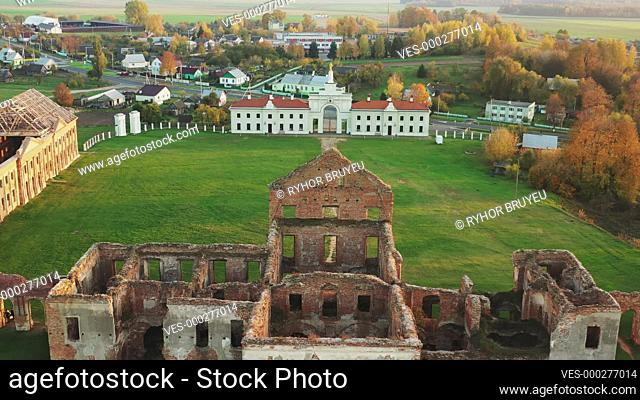 Ruzhany, Brest Region, Belarus. Cityscape Skyline In Autumn Sunny Evening. Bird's-eye View Of Ruzhany Palace. Famous Popular Historic Landmark